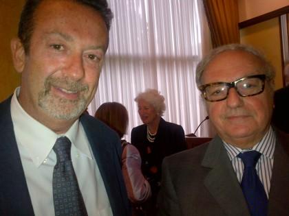 Achille Colombo Clerici con il Console Generale d'Italia a Lugano Ministro Marcello Fondi.